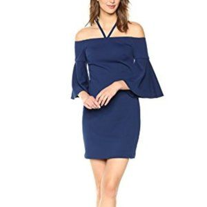 Trina Turk Blue Off The Shoulder Halter Mini Dress